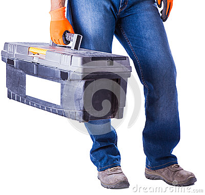 Free Working In Hands Holds A Box With Tools Royalty Free Stock Photography - 42916577