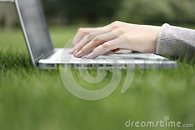 Working on a laptop in the grass