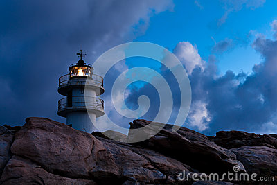 Working Lighthouse at Bad Weather