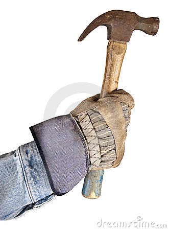 Working Man, Handyman Hand Holding Hammer Isolated