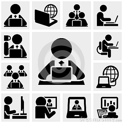 Free Working On Computer Vector Icons Set On Gray Royalty Free Stock Photography - 36696747
