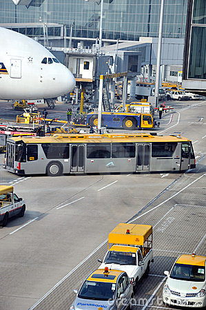 Working and operation in Hongkong Airport Editorial Photography