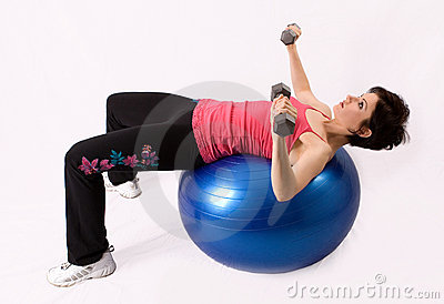 Working out on an exercise ball