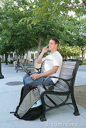 Working outside on a bench