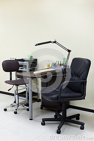 Working place of manicure master