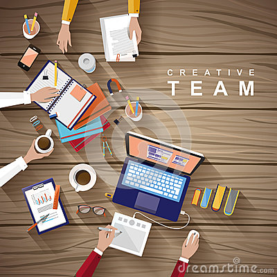 Free Working Place Of Creative Team In Flat Design Stock Image - 46512071