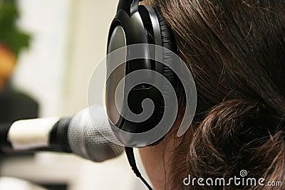 Working in a radio studio