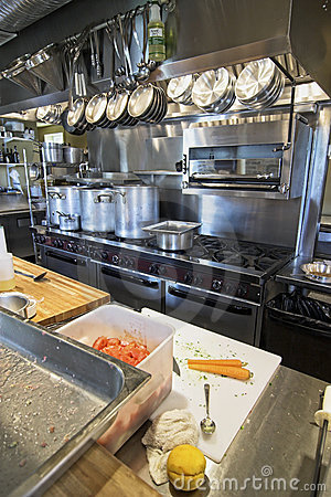 Working restaurant kitchen