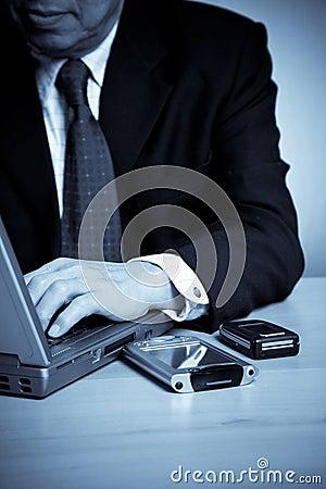 Working senior asian businessman