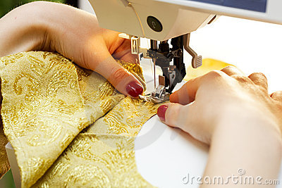 Working on the sewing machine