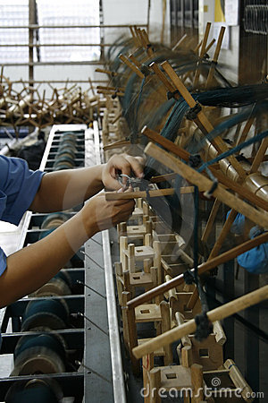 Working at silk factory