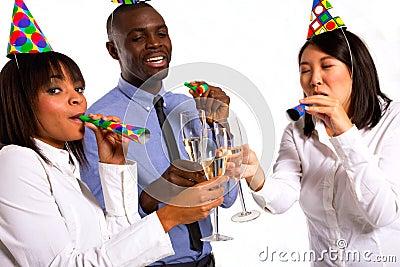 Working team celebrating