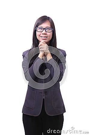 Working women glad emotion