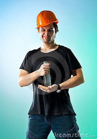 Workman with bottle