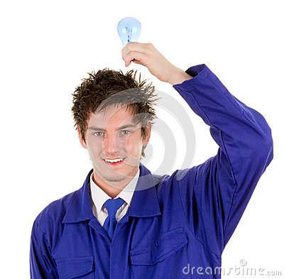 Workman with a bulb