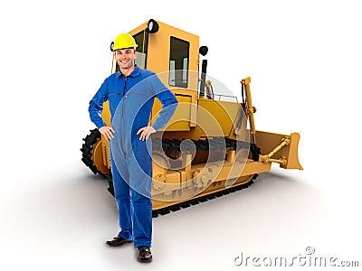 Workman and bulldozer