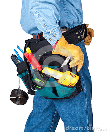 Workman with Construction Tool Belt - Torso shot - Isolated