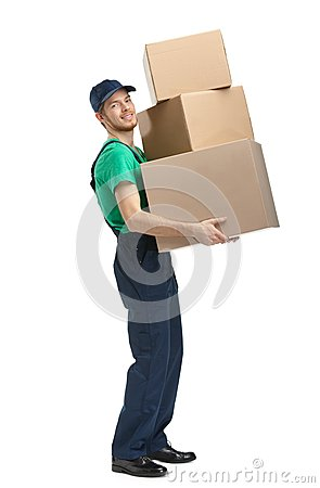Workman delivers three boxes