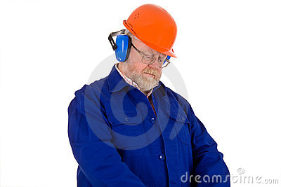 Workman with hearing protector