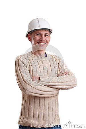Workman in helmet