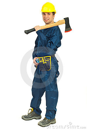Workman holding axe