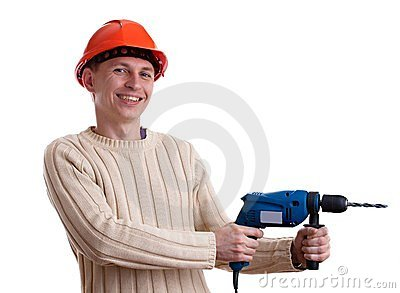 Workman in red helmet