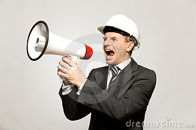 Workman Shouting Through Megaphone