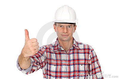 Workman showing thumbs up