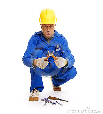 Workman sitting on the floor