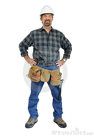 Workman with tool belt