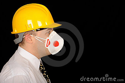 Workman wearing mask