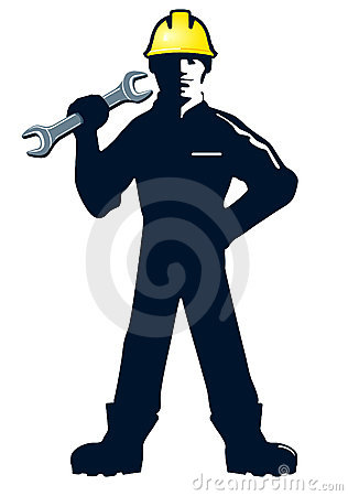 Workman with wrench or spanner