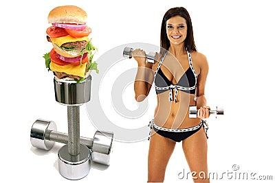 Workout burger brunette in bikini exercise