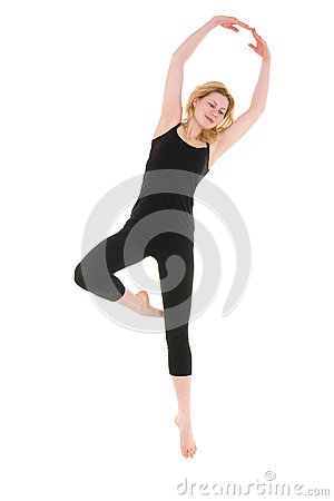 Workout of young acrobat woman