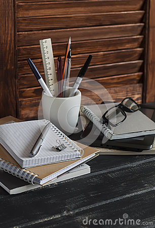 Free Workplace And Accessories For Training, Education And Work. Books, Magazines, Notebooks, Pens, Pencils, Tablet, Glasses. Royalty Free Stock Image - 64650366
