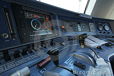 Workplace of the driver of a train