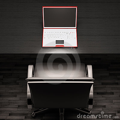 Workplace with white laptop 3d