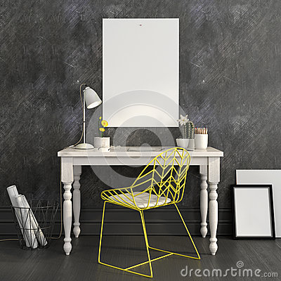 Free Workplace With A Bright Yellow Chair And A Mock Up Royalty Free Stock Image - 63512556