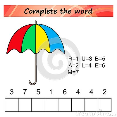 Free Worksheet For Kids. Words Puzzle Educational Game For Children. Place The Letters In Right Order. Royalty Free Stock Image - 125593876