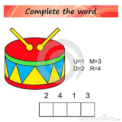 Free Worksheet For Kids. Words Puzzle Educational Game For Children. Place The Letters In Right Order. Royalty Free Stock Photo - 125593935