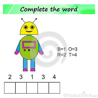 Free Worksheet For Kids. Words Puzzle Educational Game For Children. Place The Letters In Right Order. Royalty Free Stock Photos - 125594028