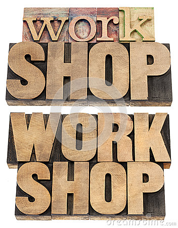 Workshop word in wood type