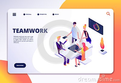 Workspace isometric landing page. People team work in office. Partnership, business process persons working together Vector Illustration