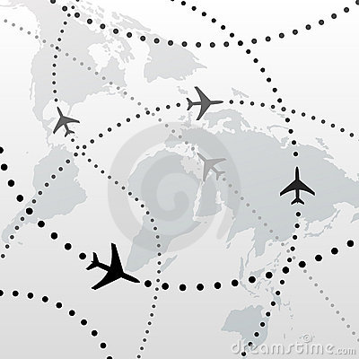 Free World Airplane Flight Travel Plans Connections Royalty Free Stock Image - 14048096