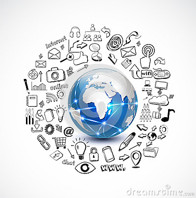 Free World And Technology Concept With Doodle Technolog Stock Image - 43048411