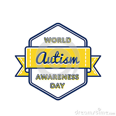 World Autism Awareness day greeting emblem Vector Illustration