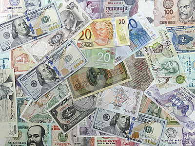 World Bills from around the world background