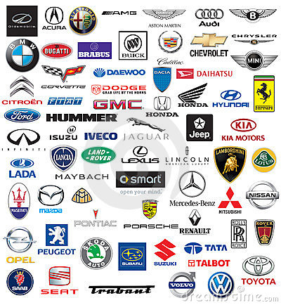 World brand of cars logotypes Editorial Stock Image