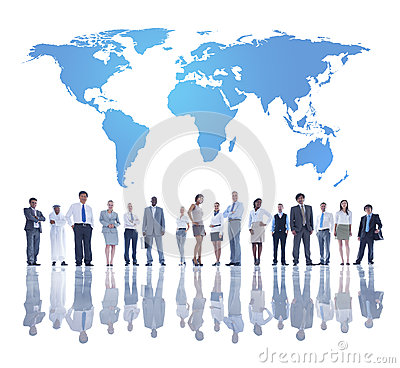 Free World Business People With World Map Stock Photo - 37446770
