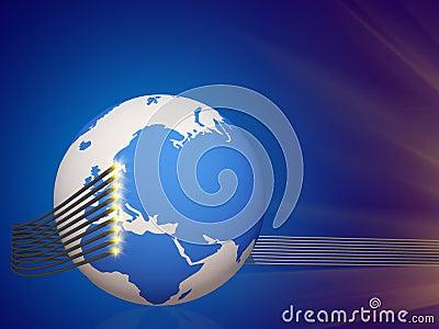 World cable telecommunication 3d cg